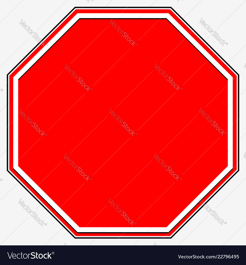 Blank stop sign blank red octagonal prohibition