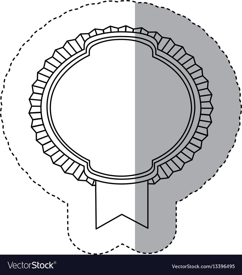 Contour emblem border with ribbon icon vector image