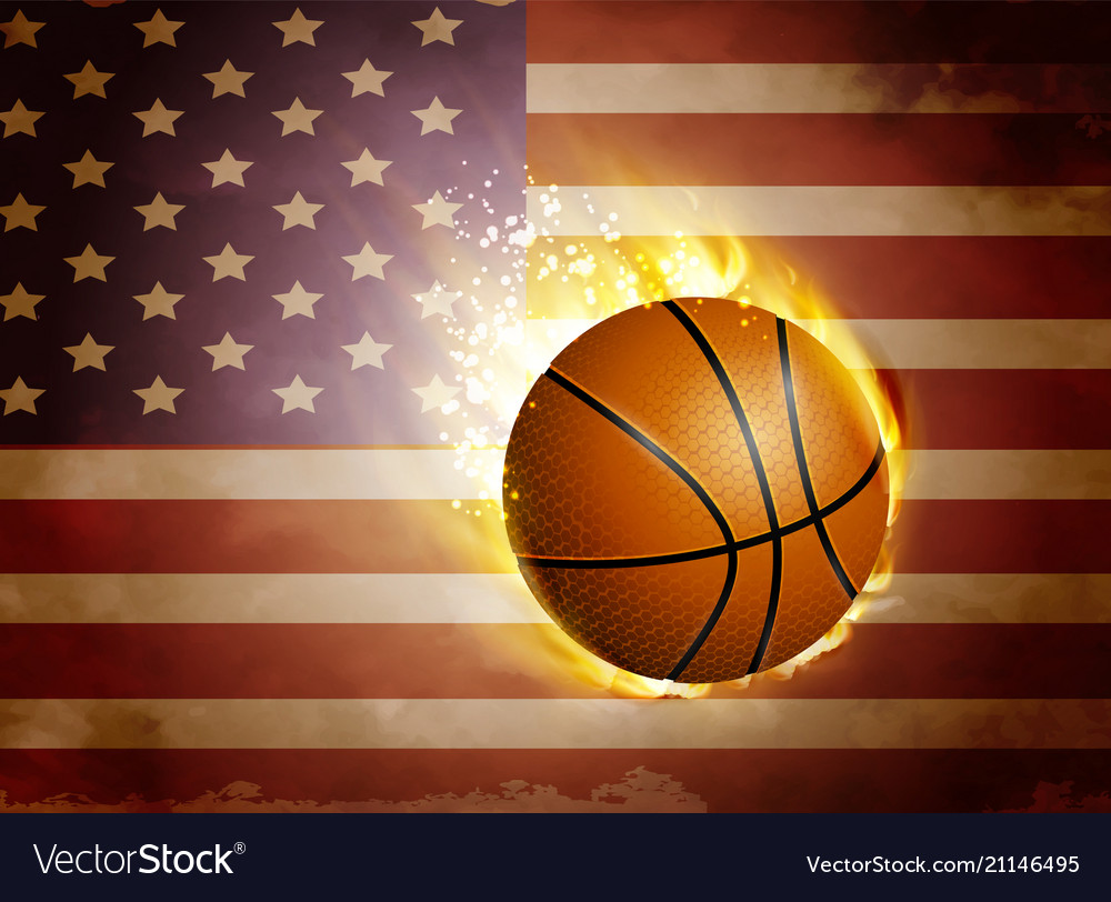 Flag of united states with basketball