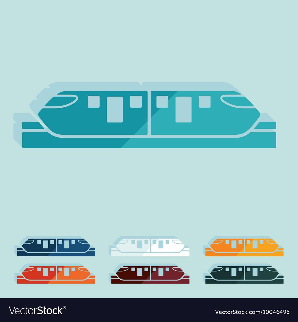 Flat design monorail train
