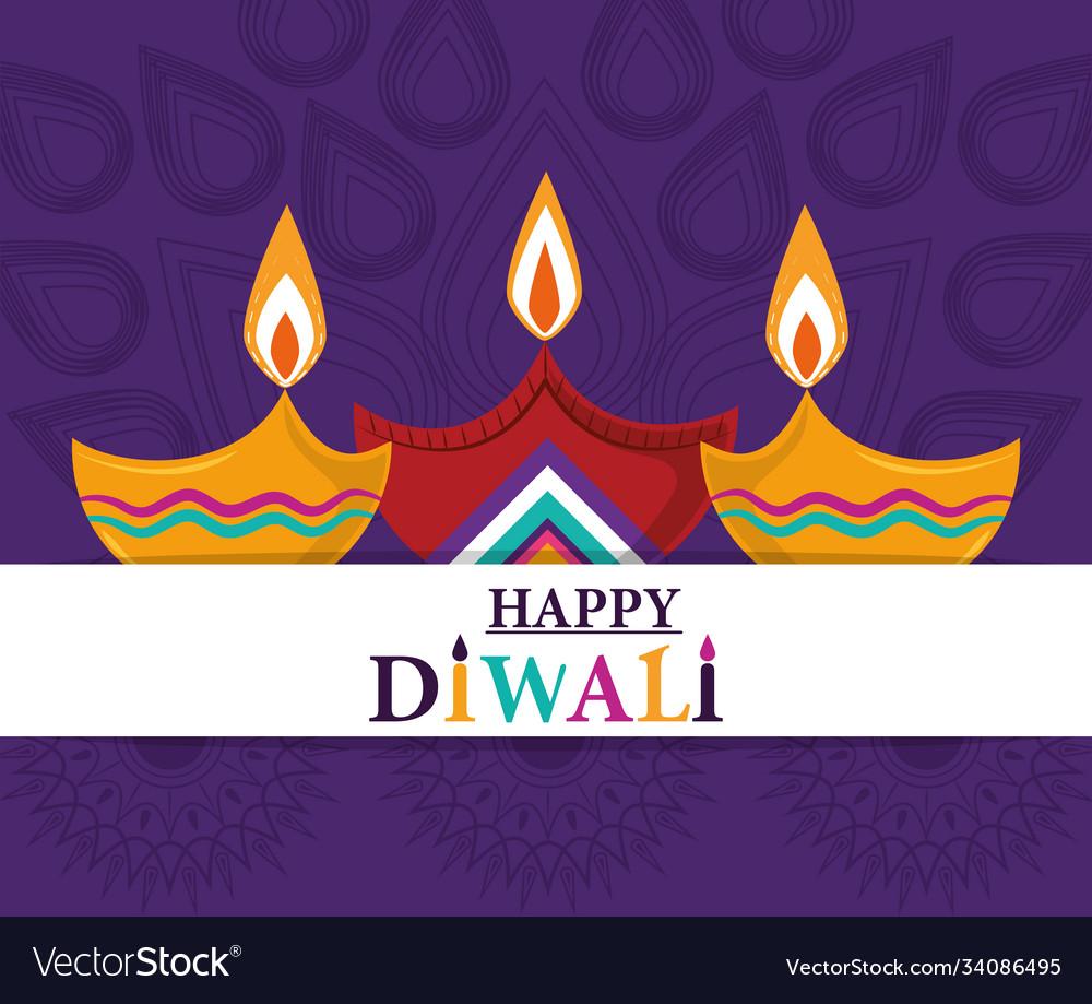 Happy diwali festival lights diya lamps purple