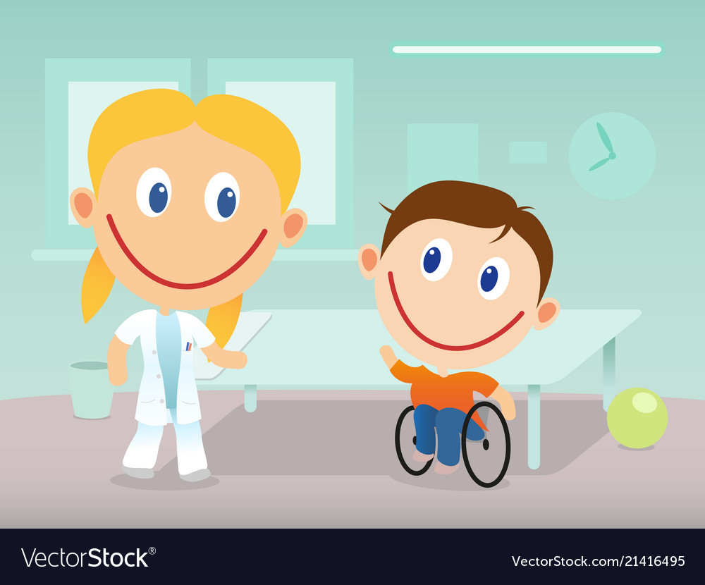 Happy physiotherapist and child in wheelchair