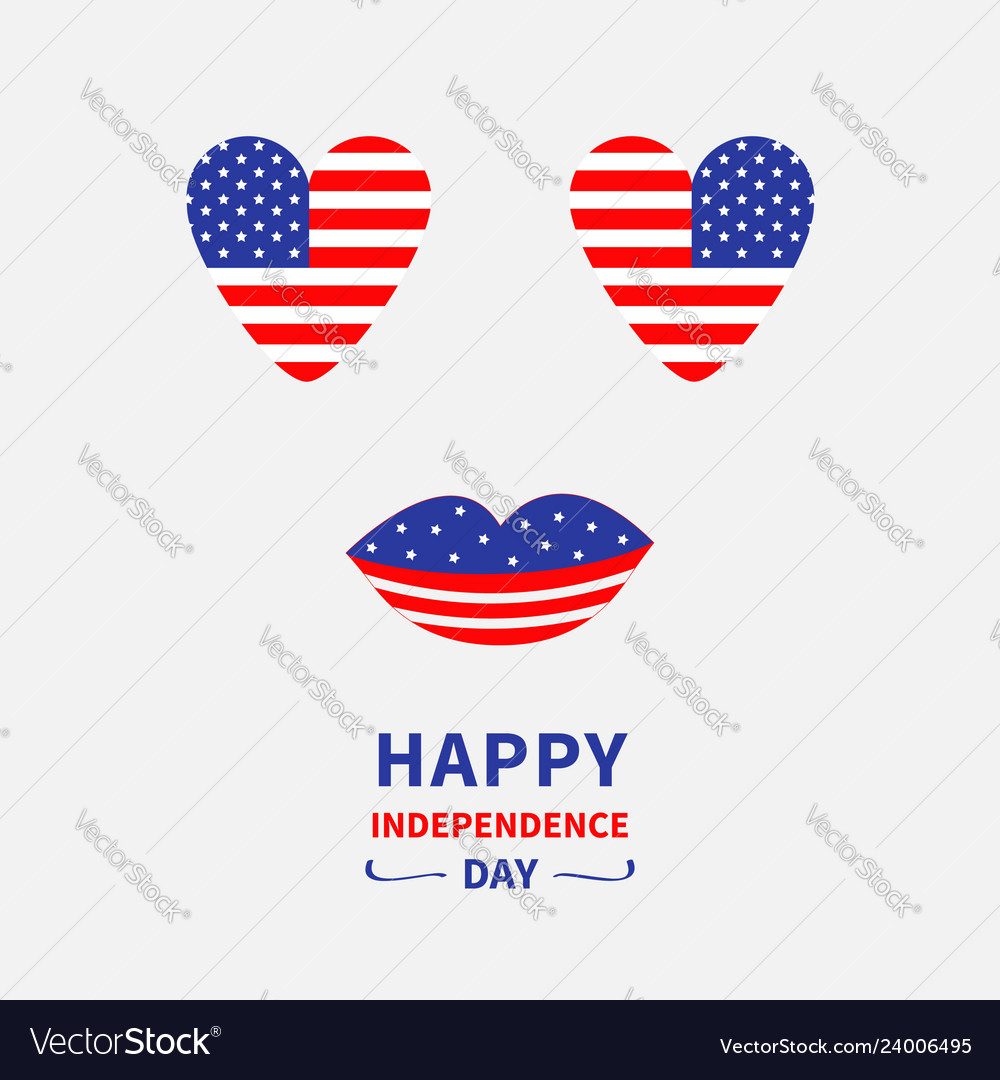 Heart shape american flag icon set face with eyes