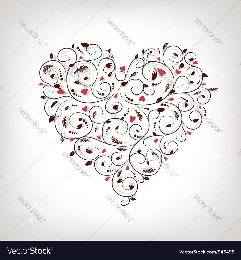 Heart shape floral ornament for your design vector image