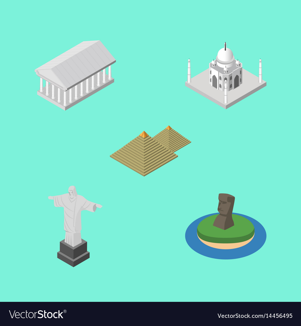 Isometric travel set of egypt rio chile and