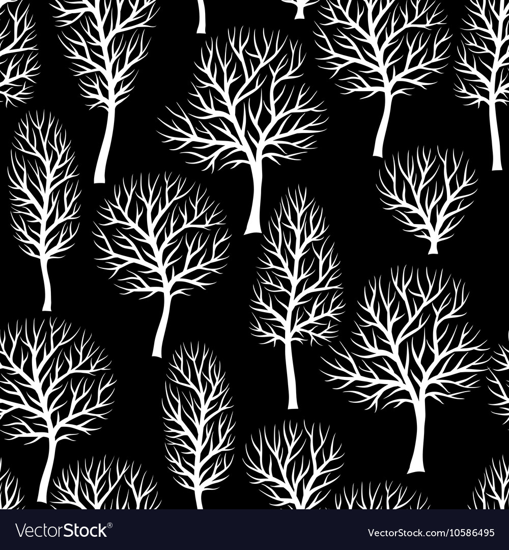 Seamless pattern with abstract stylized trees