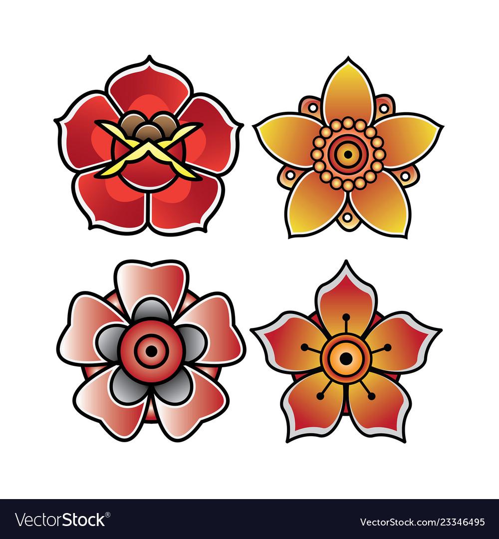 Set flower tattoo old school