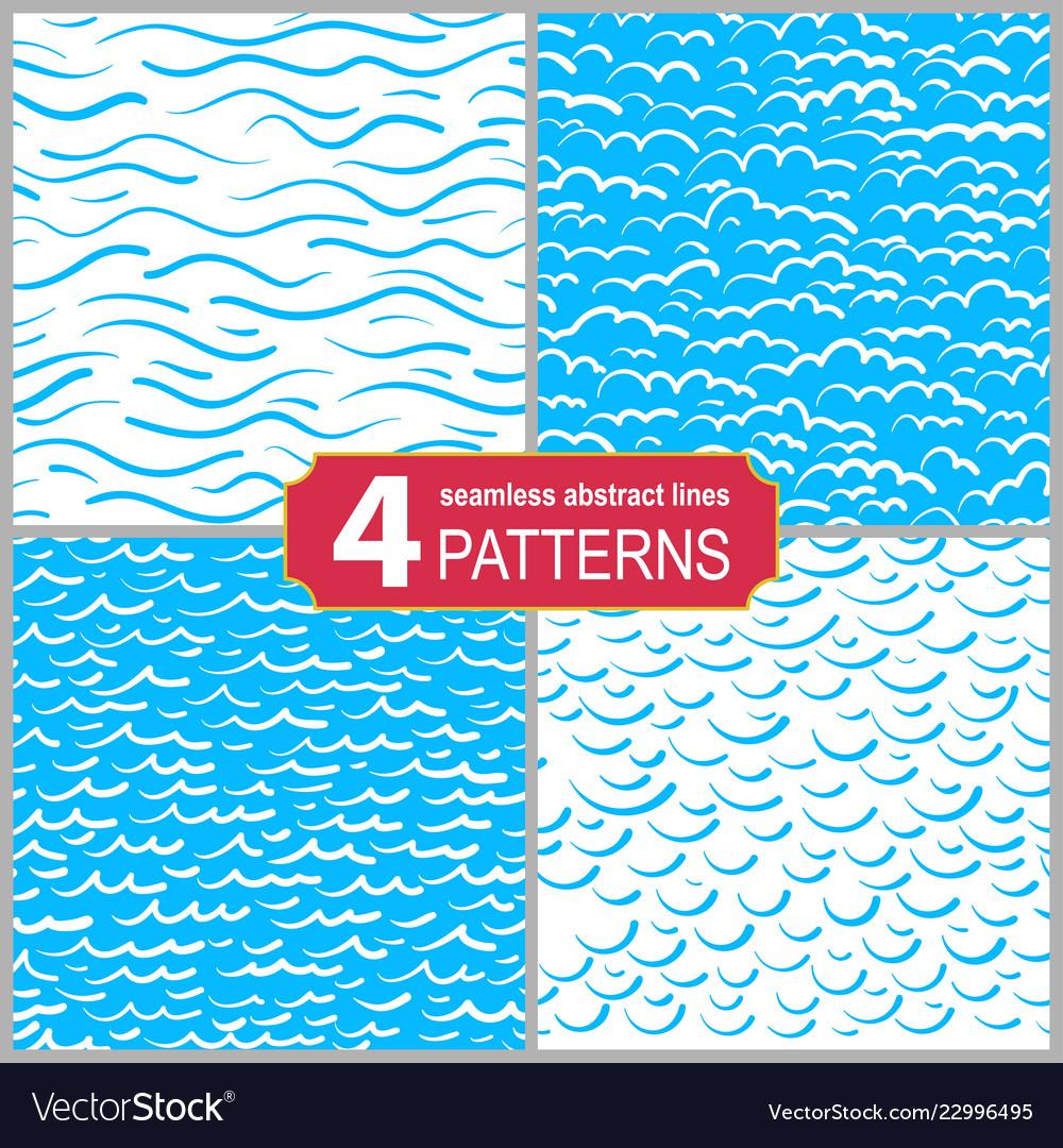 Set of hand drawn seamless marine lines patterns