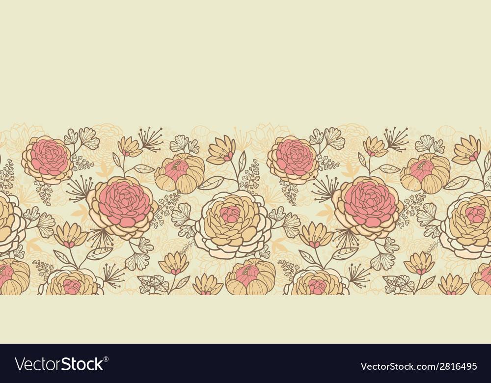Vintage brown pink flowers horizontal seamless