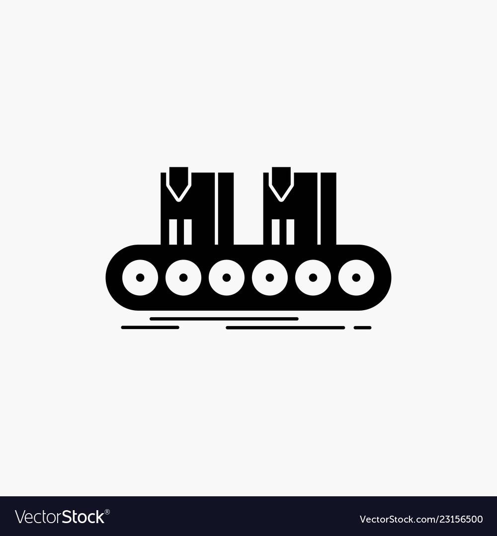 Belt box conveyor factory line glyph icon isolated