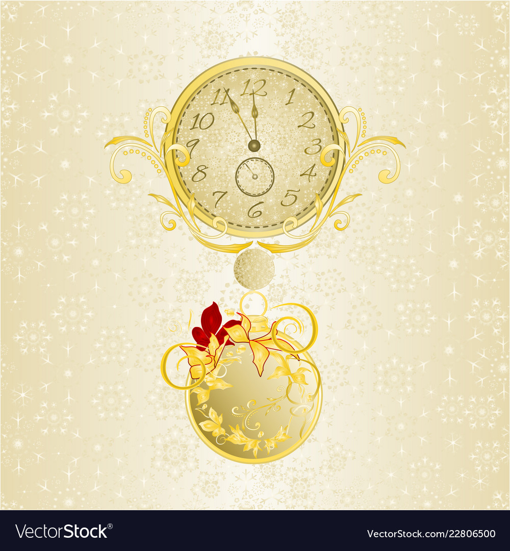 Christmas background watch in new years golden