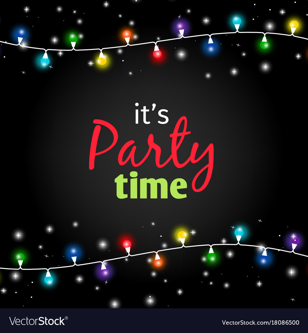 Colorful light garlands party time poster