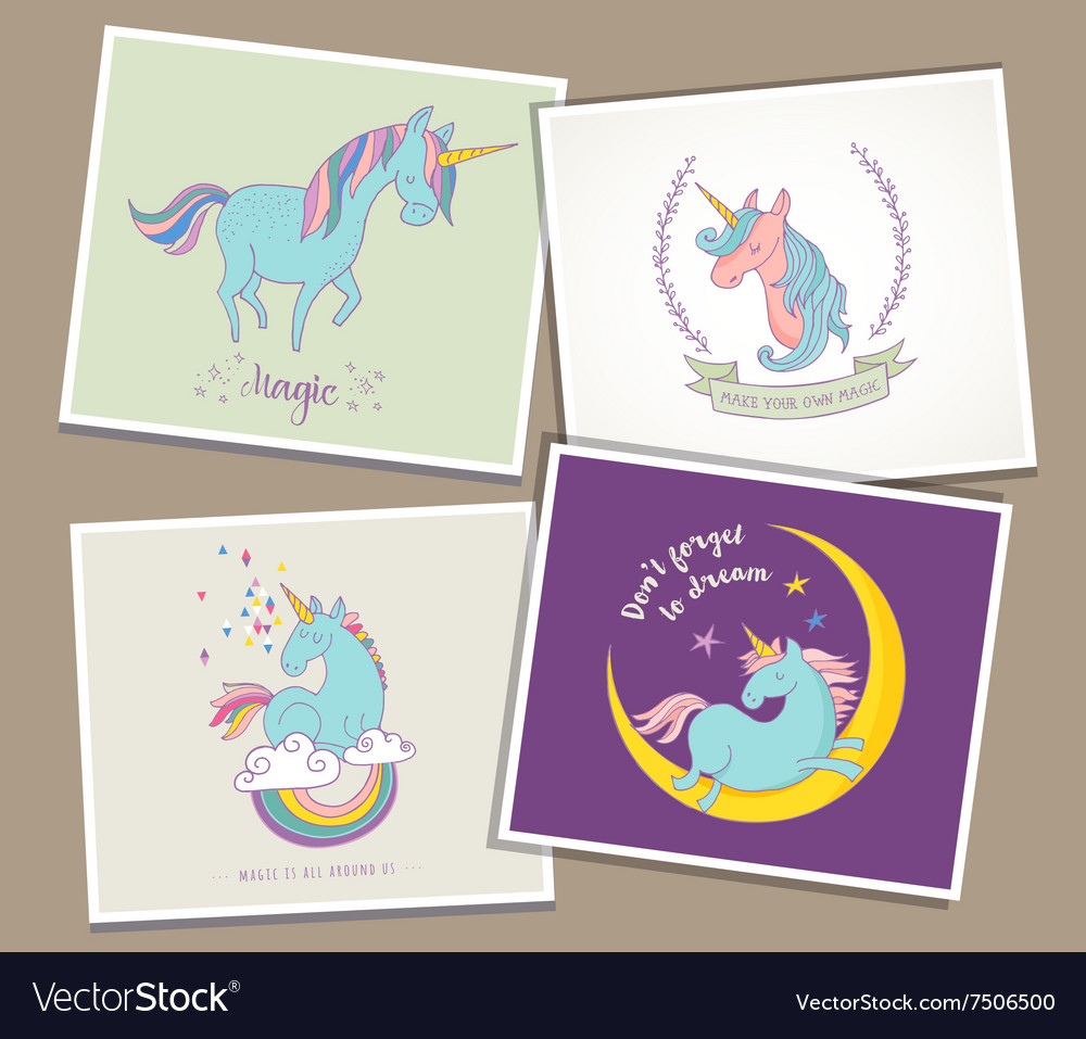 Cute magic unicon and rainbow greeting cards vector image m4hsunfo