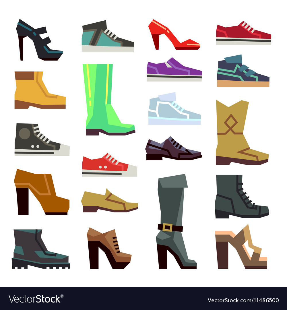 Different footwear casual shoes set