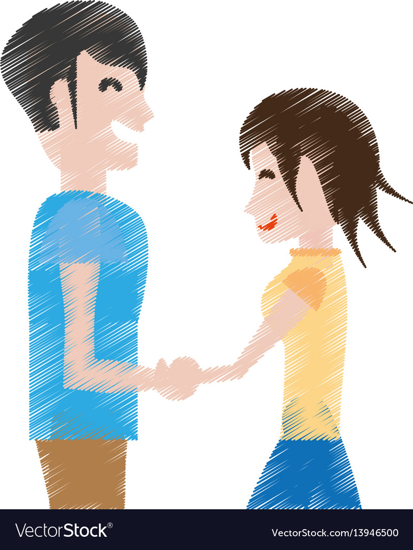 Drawing man and woman relation happy