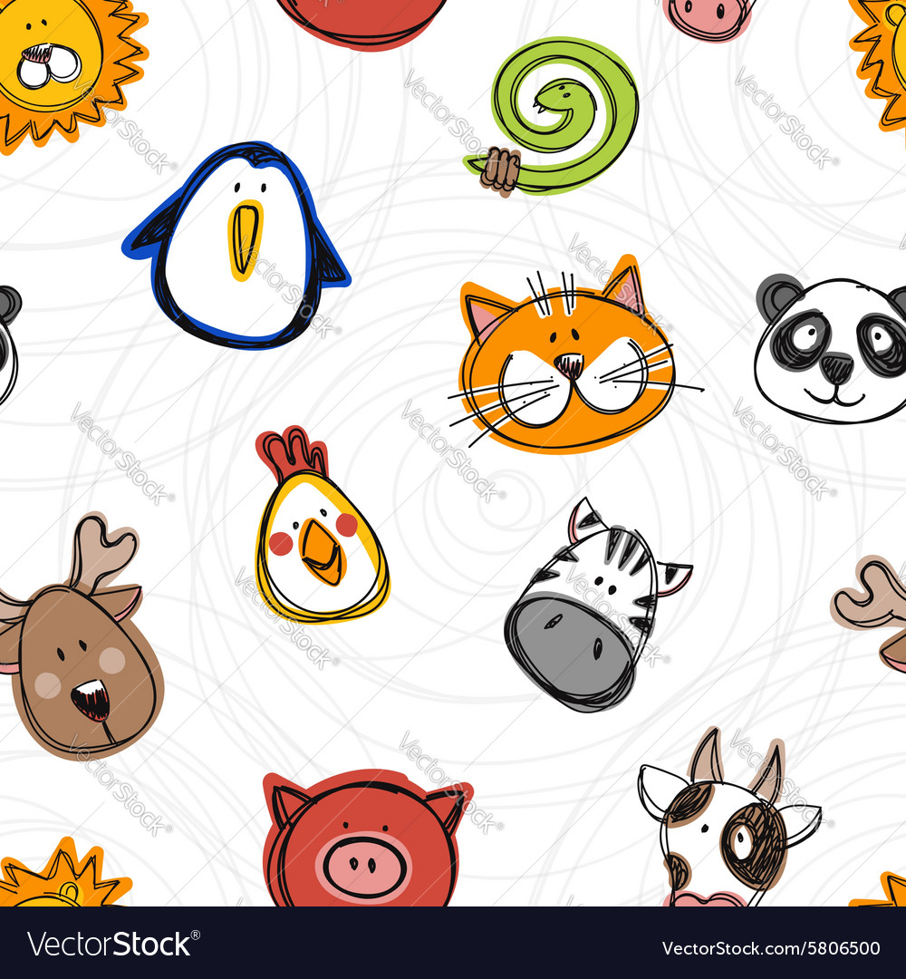 Seamless pattern of hand drawn doodle animals
