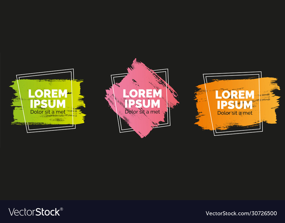 Set modern abstract banners brush