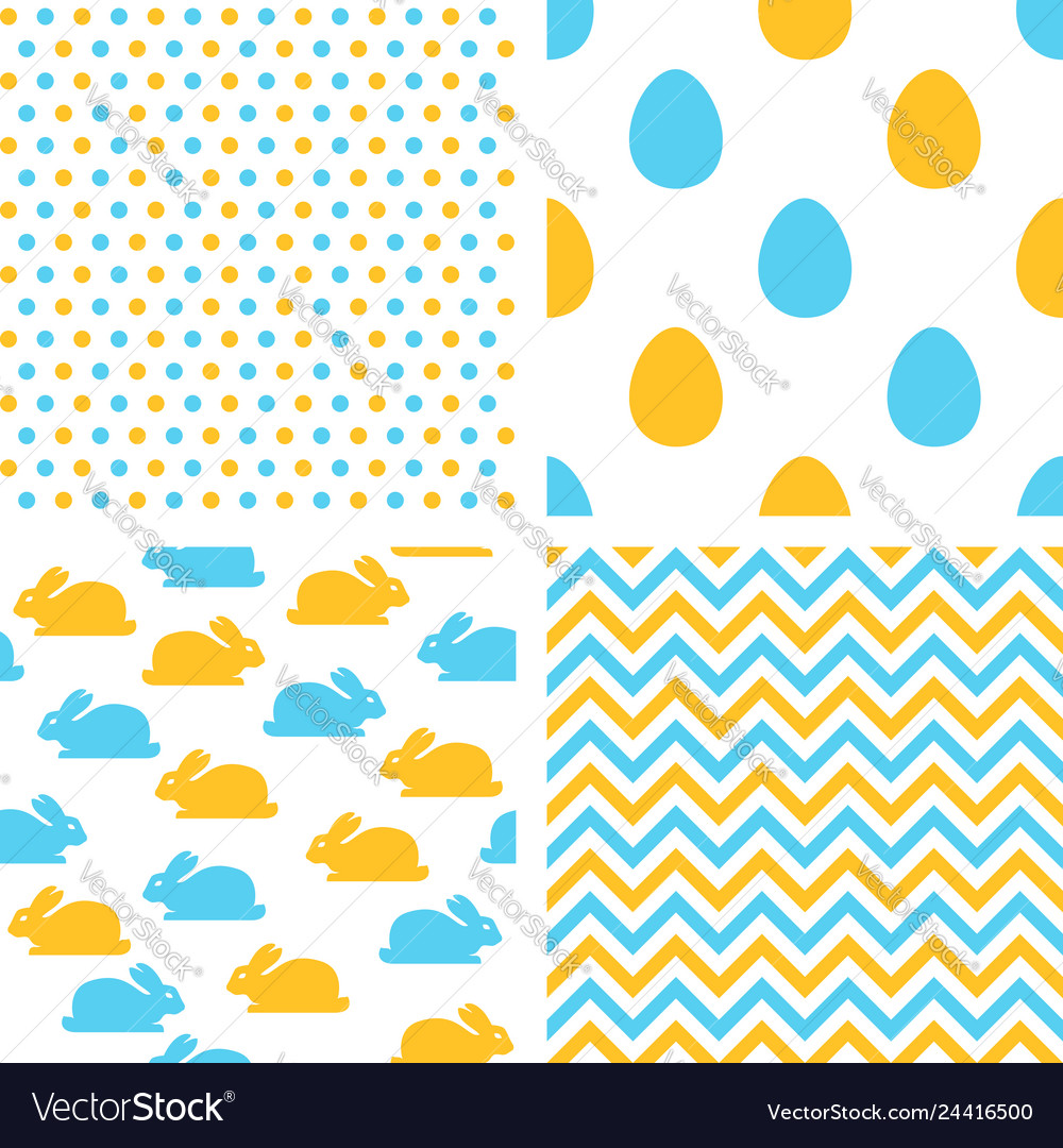 Set of easter seamless patterns with eggs rabbits