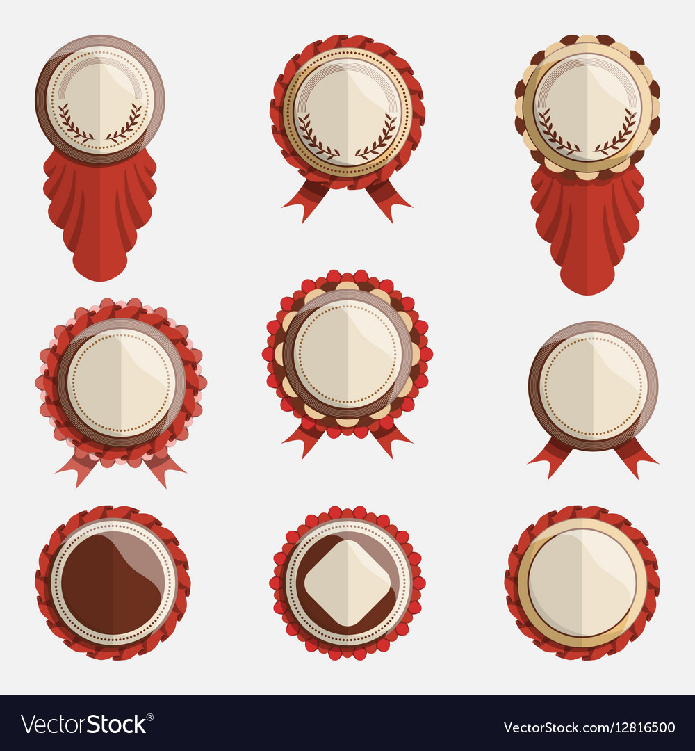 Set of empty badges with ribbons vector image