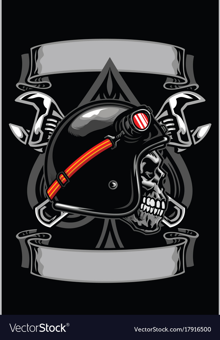 Skull of biker with spade and crossed wrench