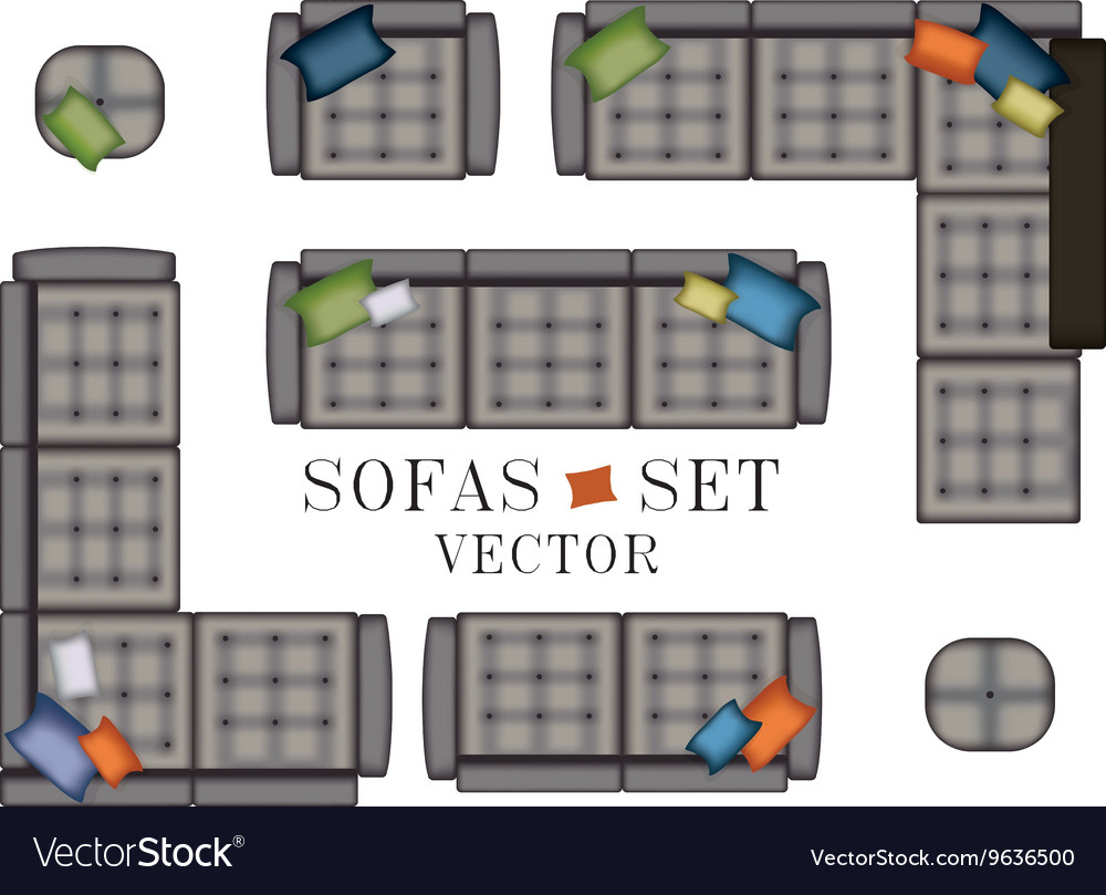 Sofas Armchair Set Top view Furniture with vector image