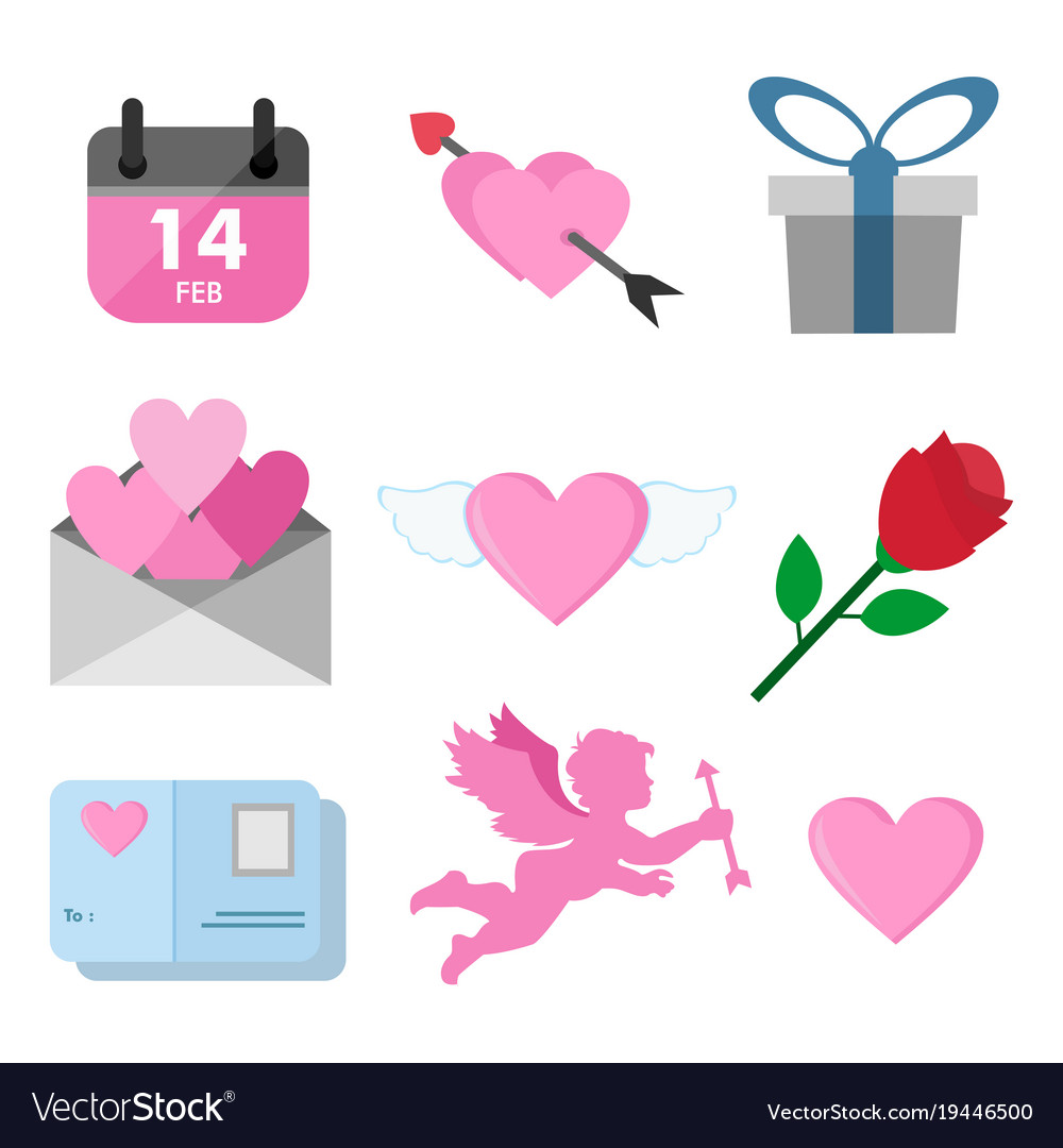 Valentine Day Related Symbols Graphic Set Vector Image