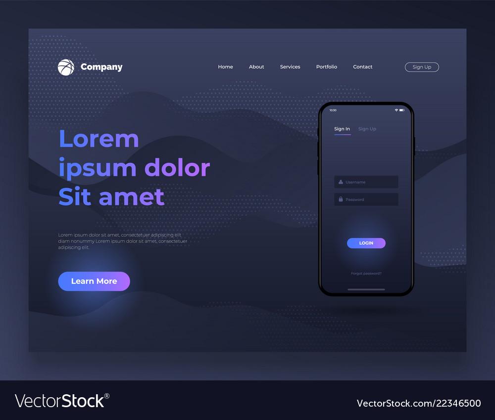 Web page design for website