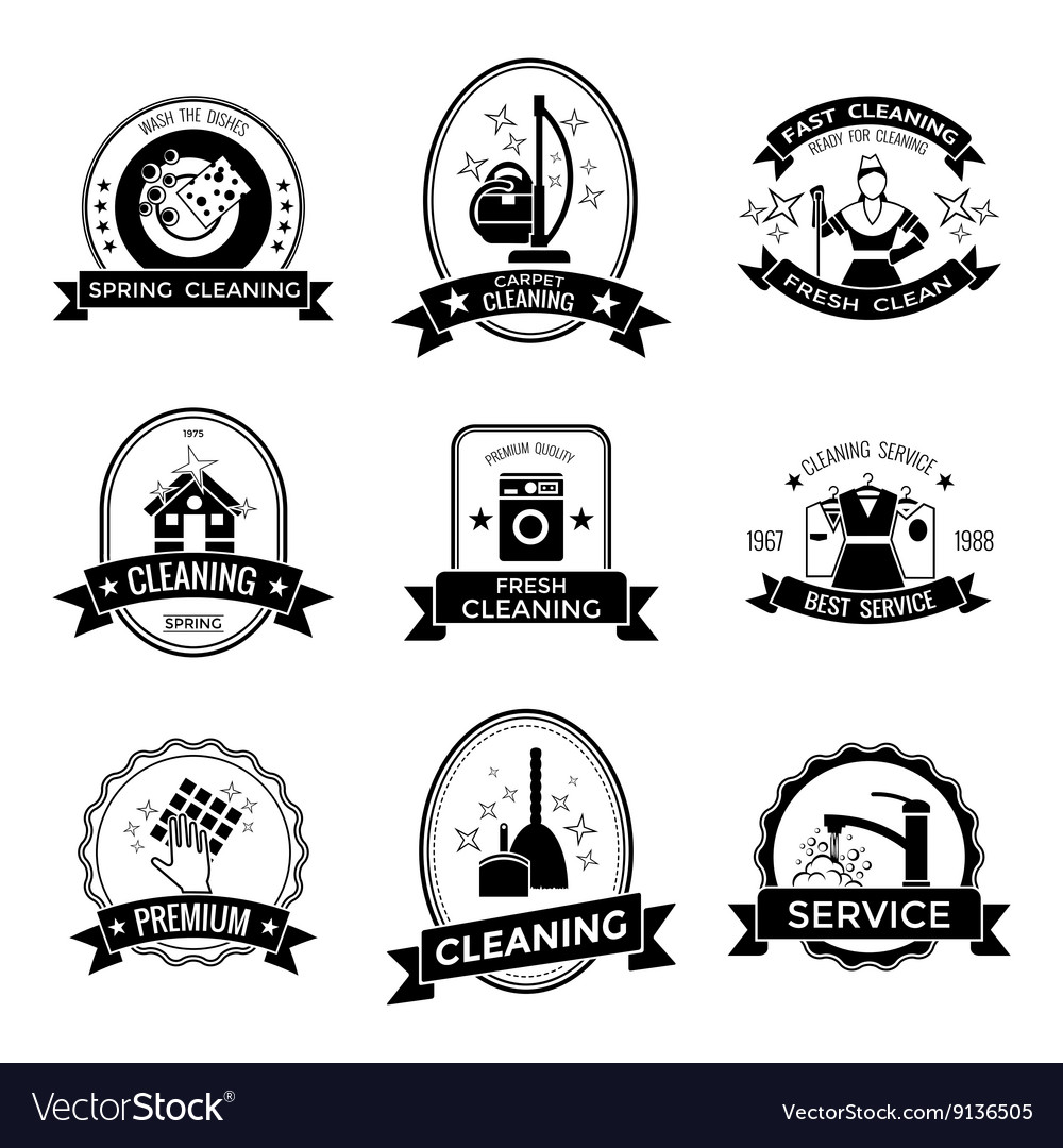 Cleaning Service Graphic Emblems vector image