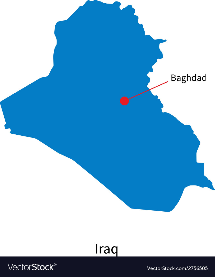 Detailed map of Iraq and capital city Baghdad