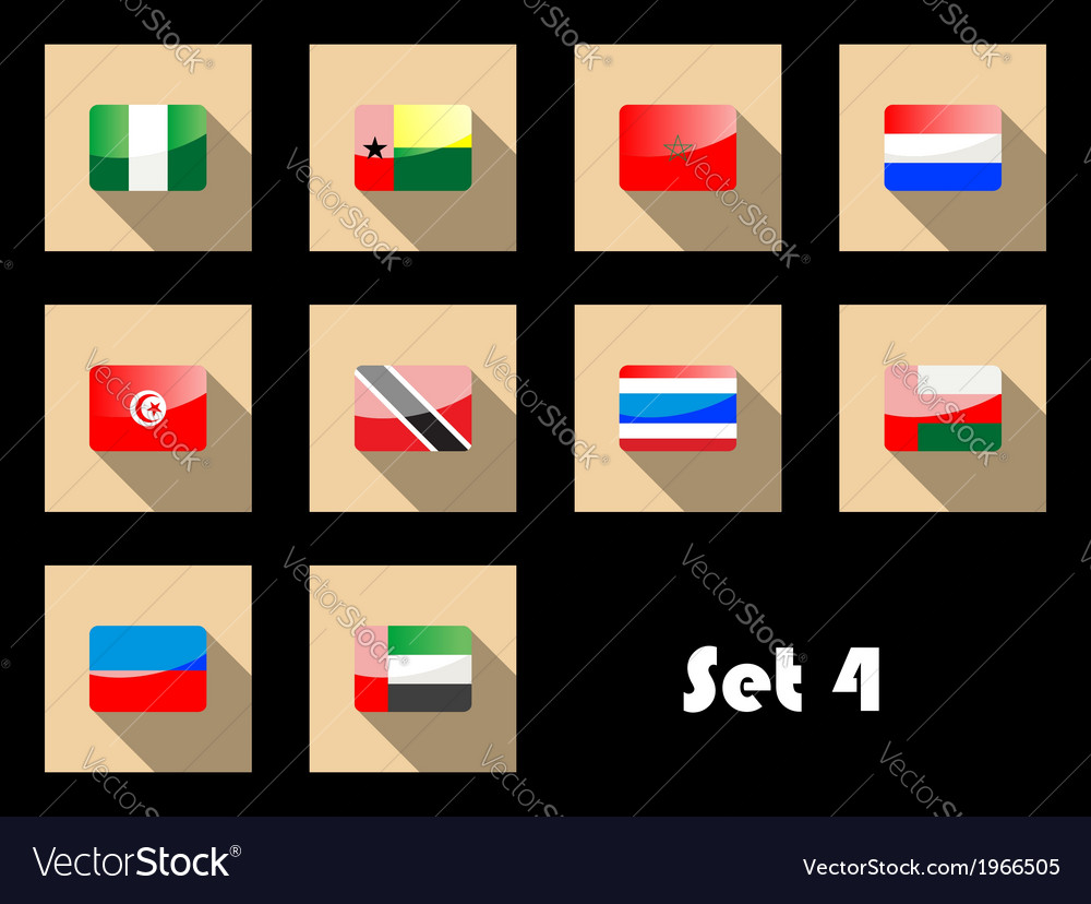 Flat icons set of international flags