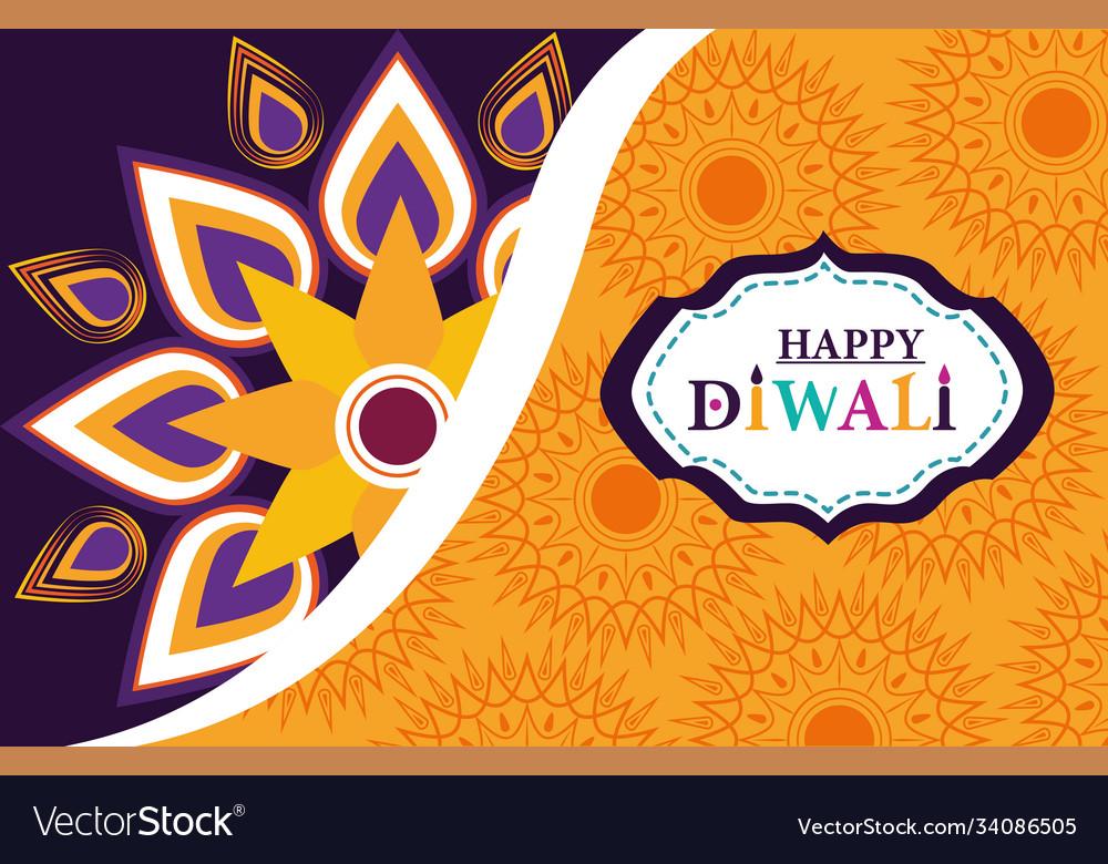 Happy diwali festival banner with floral mandala