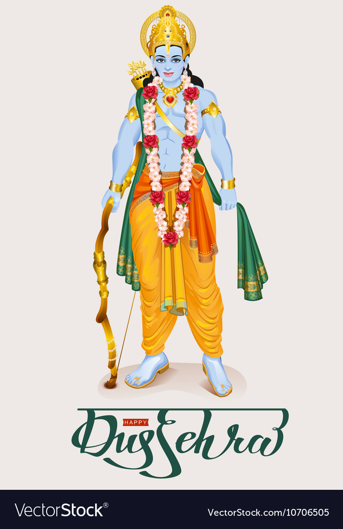 Happy dussehra hindu festival Lord Rama holding