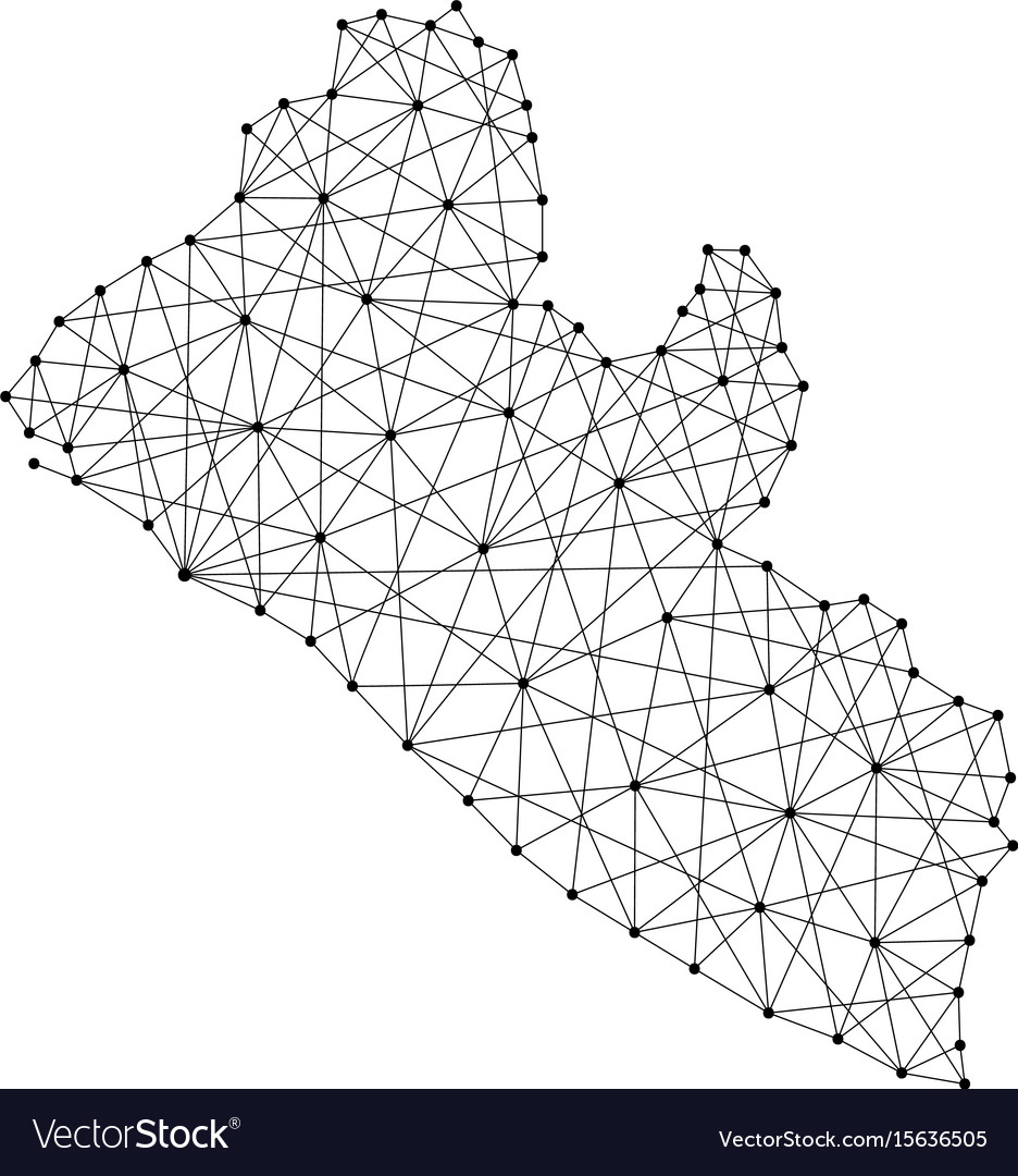 Map of liberia from polygonal black lines and dots vector image