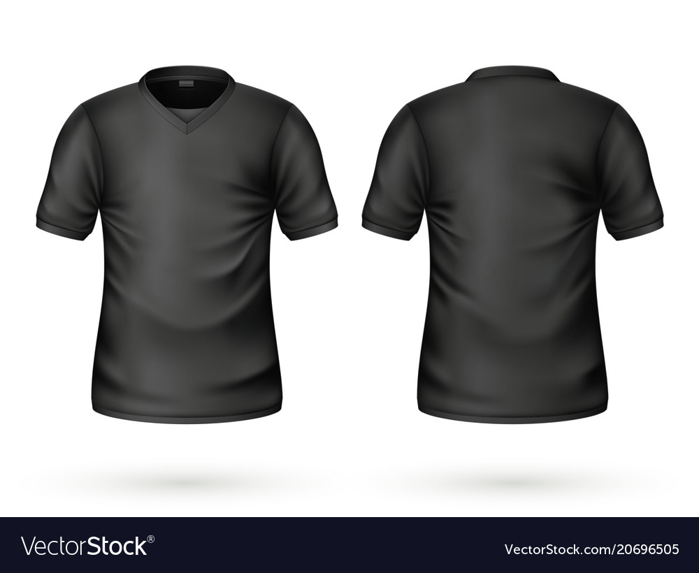 Realistic T Shirt Black Blank Mockup Royalty Free Vector