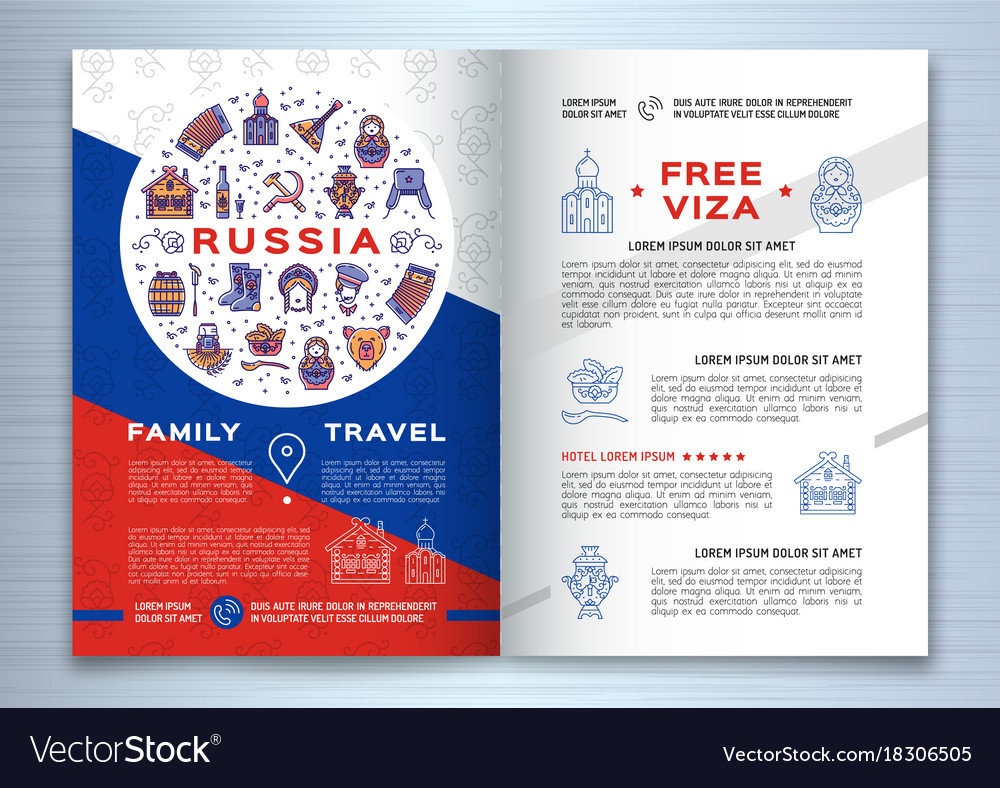 russian travel brochure template colorful russian vector image