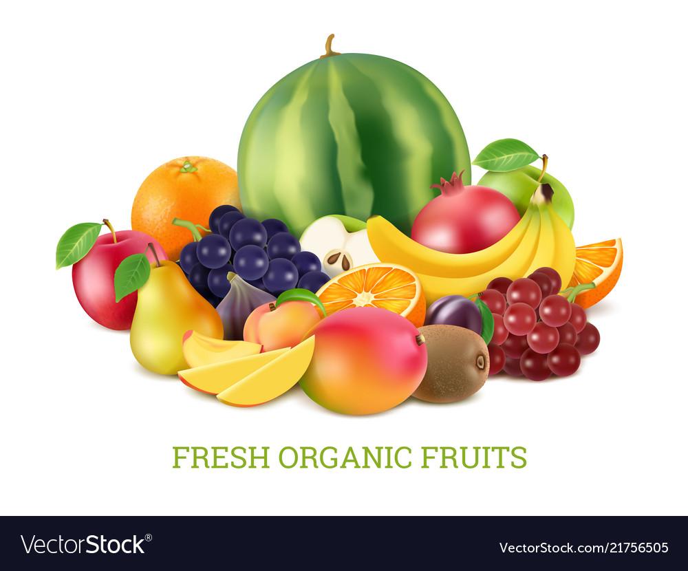 Set of various fresh fruits isolate on white