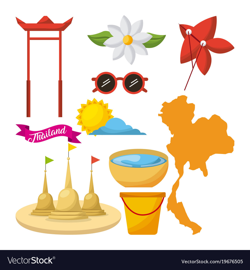 Songkran thailand festival celebration icons