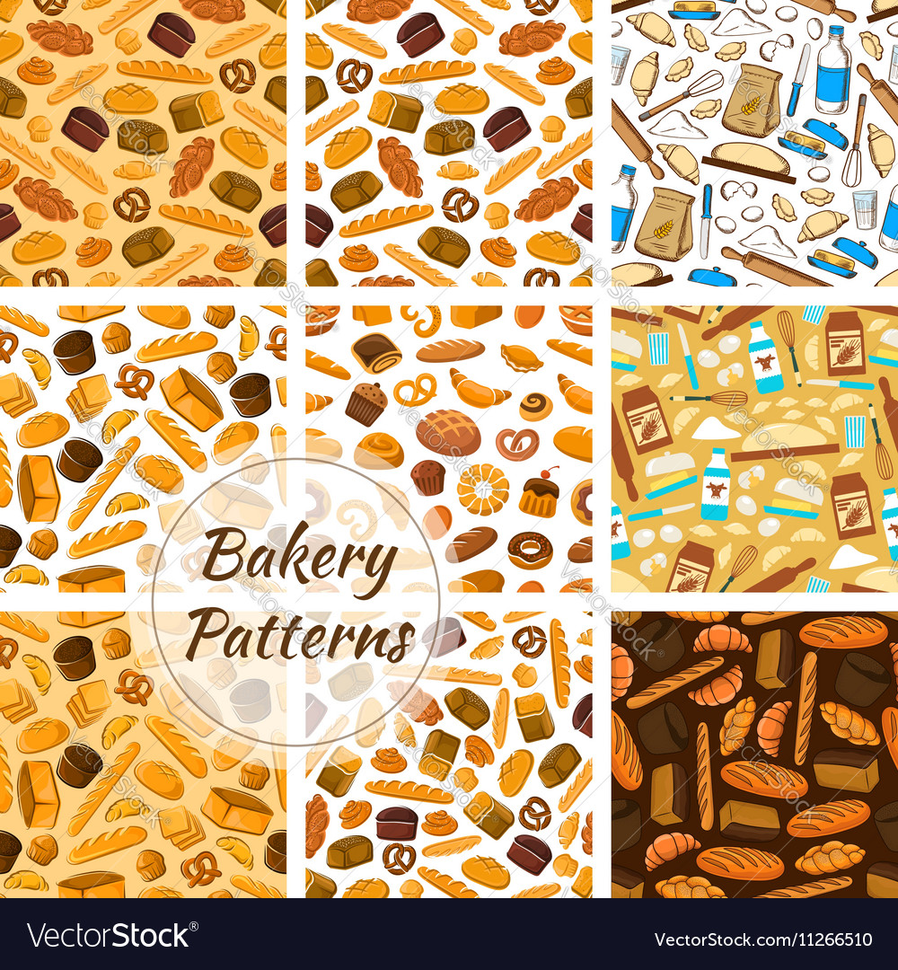 Bakery patterns set Bread and baking kitchenware