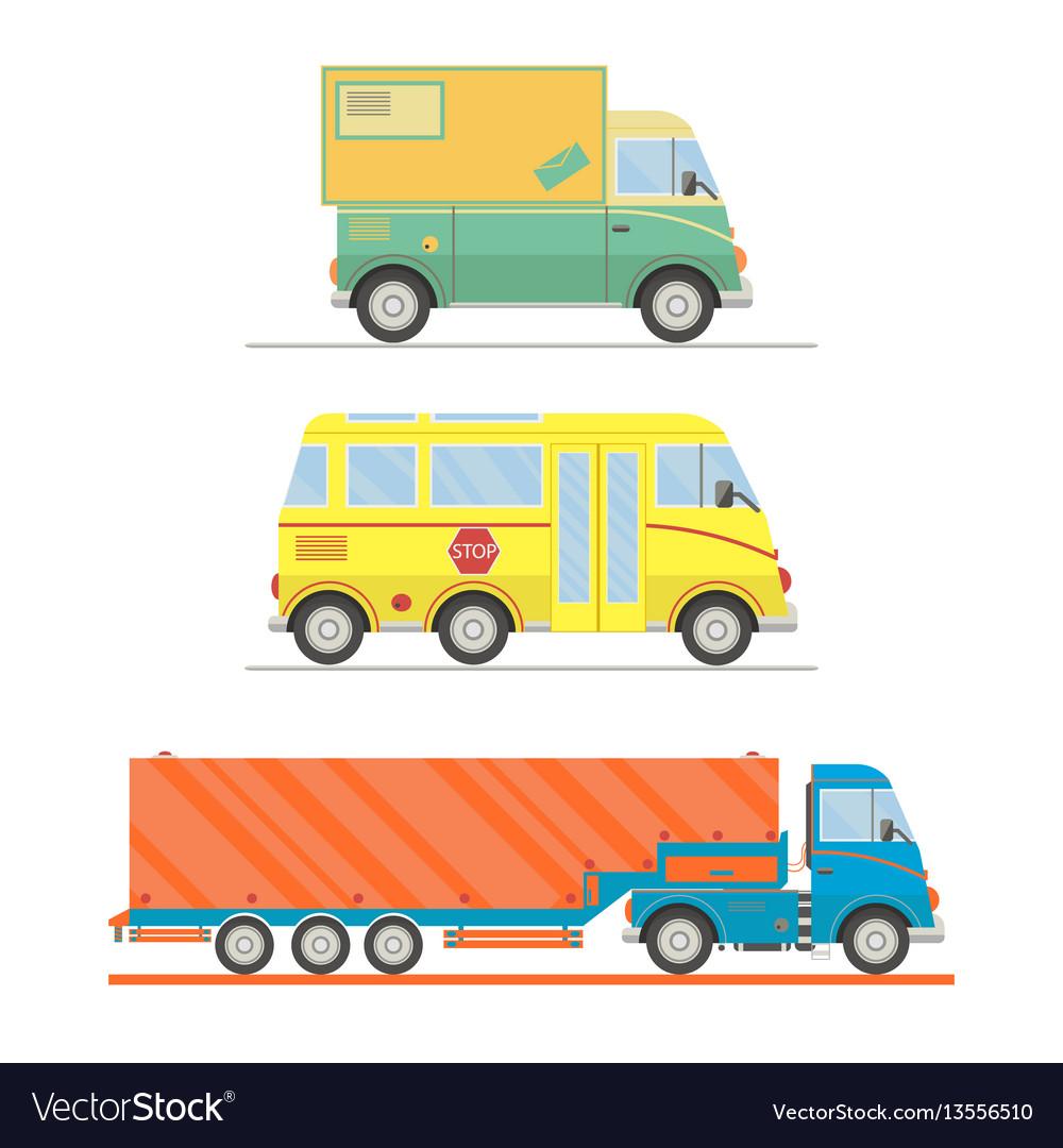 Cartoon transport set postal truck school bus