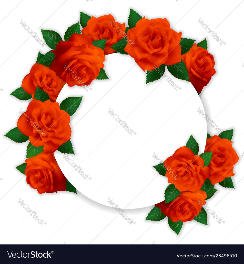Circle frame with red roses