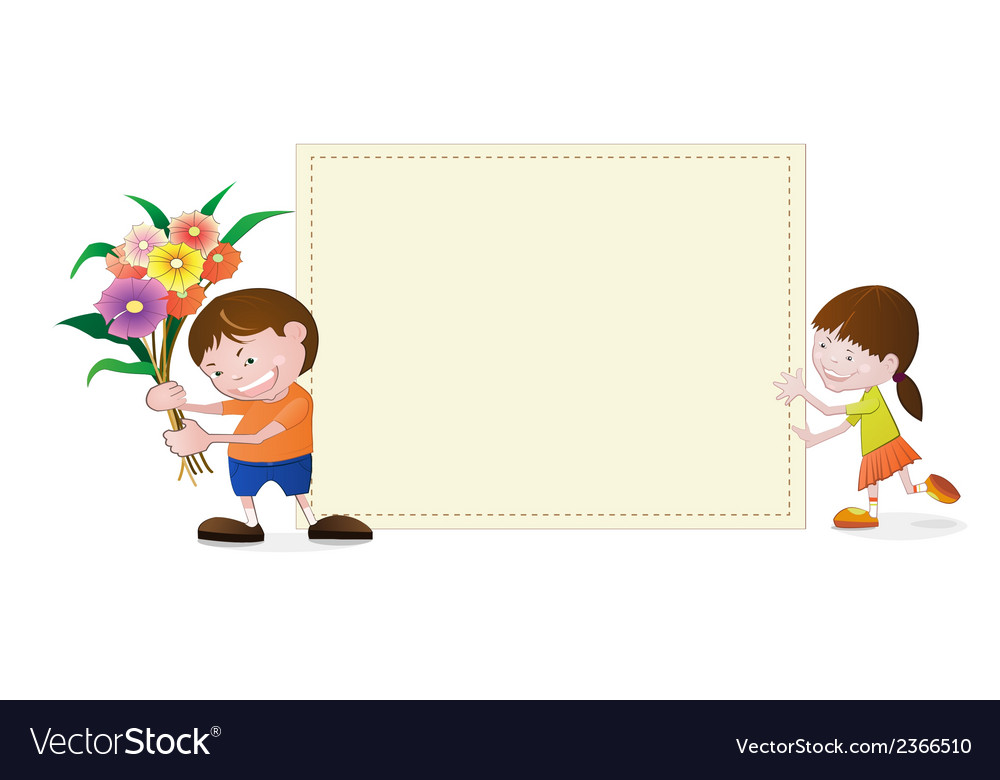 Little girl and boy with blank paper vector image