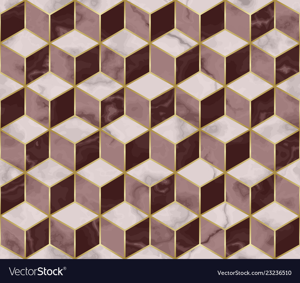 Marble mosaic seamless pattern with cube 3d effect