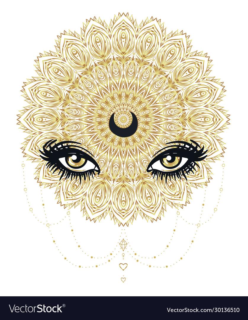 Ornamental lotus flower all-seeing eye