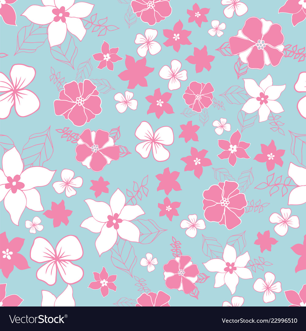 Seamless repeat floral pattern in pink and blue