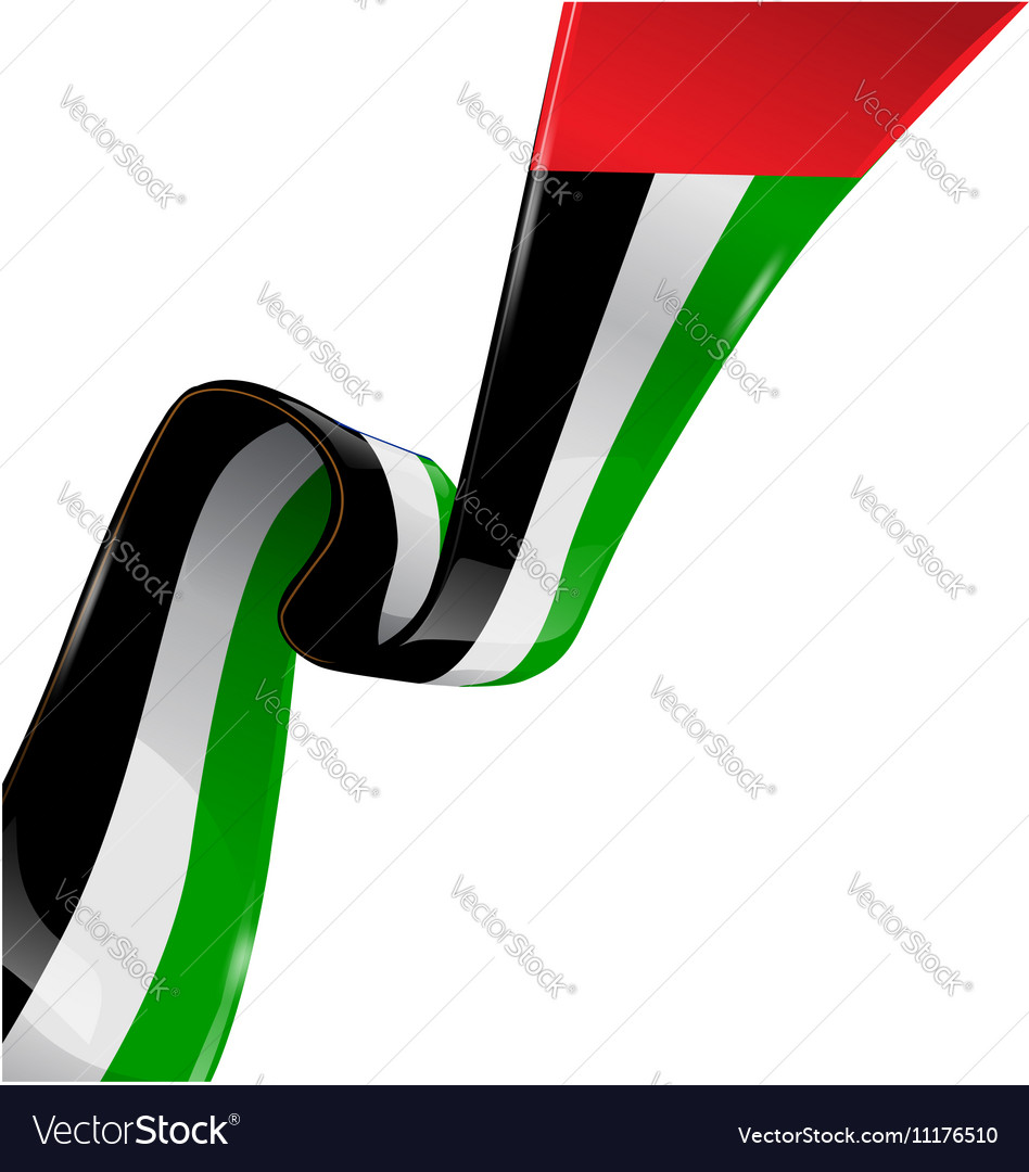 United arab emirates ribbon flag on white