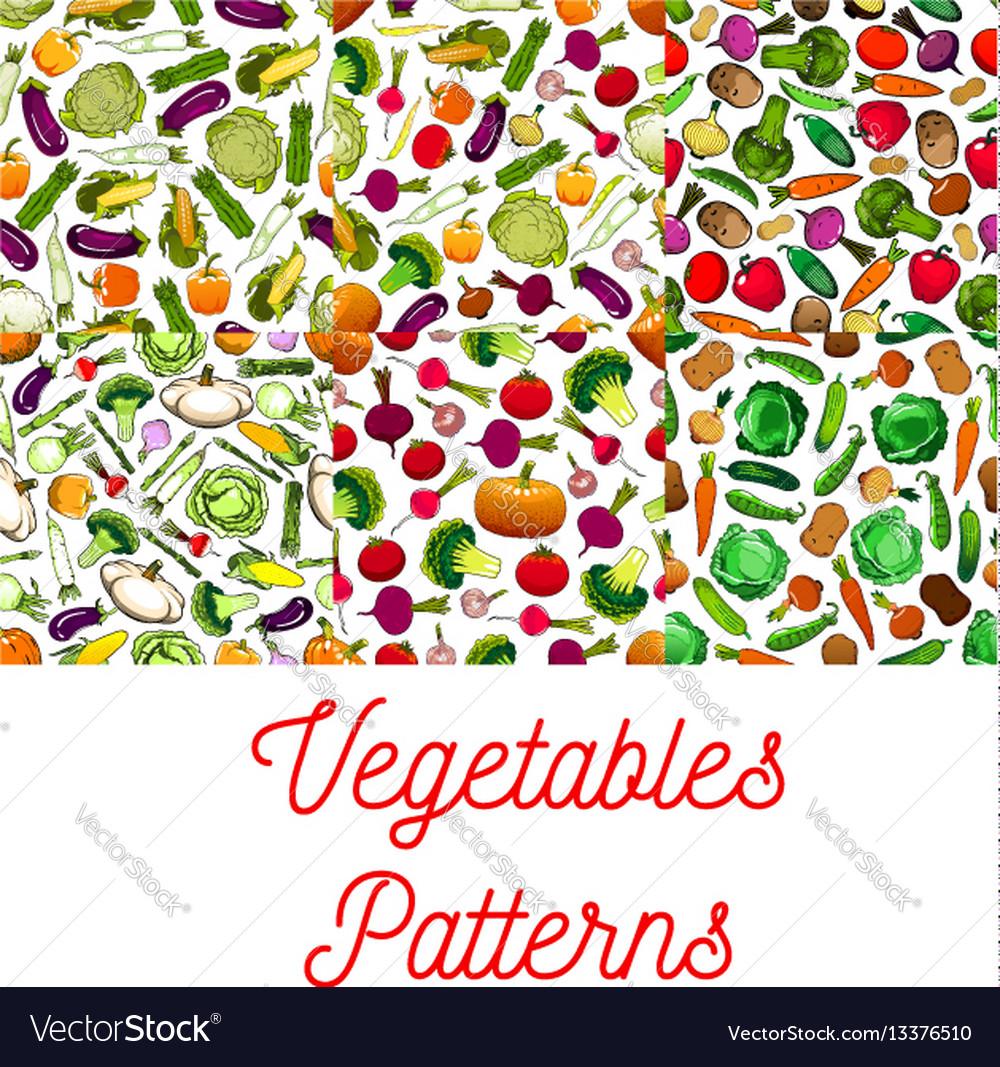 Vegetables vegetarian seamless patterns set
