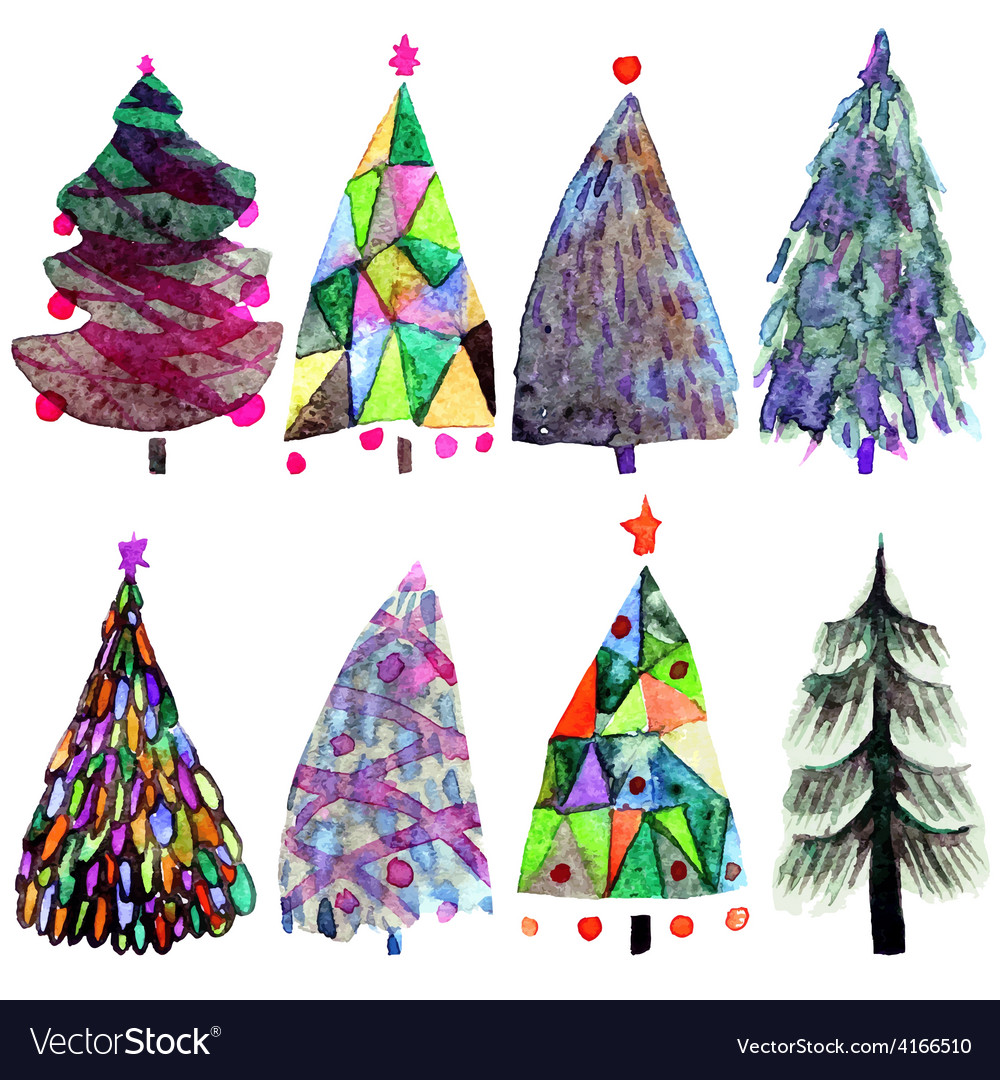 Watercolor Christmas tree set isolated on a white