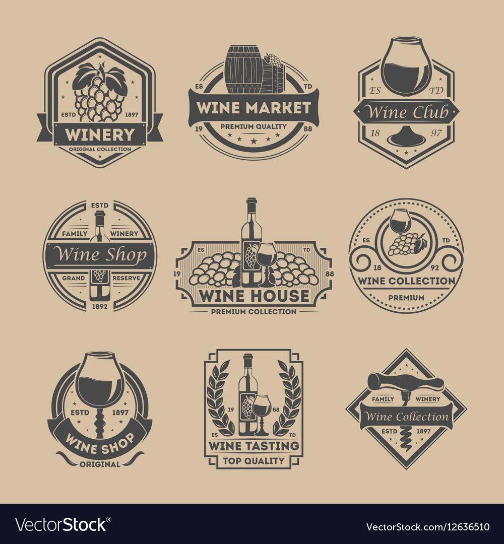 Wine shop vintage isolated label set vector image
