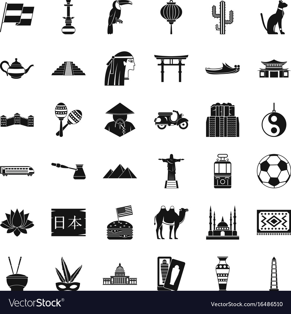 World culture icons set simple style