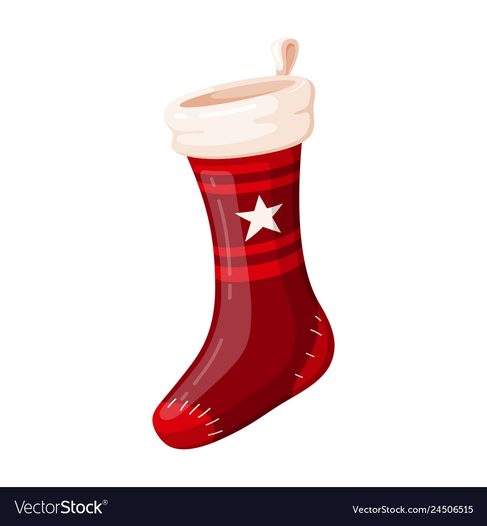 Christmas red sock holiday design and traditional